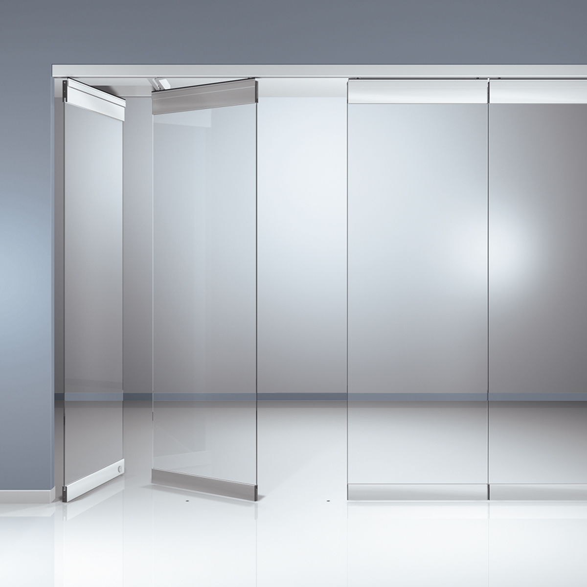 AA22- A horizontal sliding wall -Sliding glass Partition
