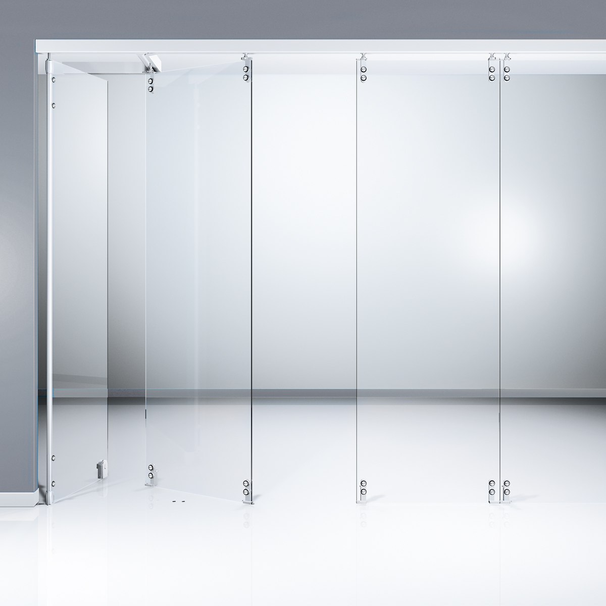 AA23- Horizontal sliding wall with single-point stainless steel fixings-glass Partition