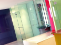 Bathroom Glass painted glass wall cladding and coloured splashback with shower encoursures in belfast and northern ireland.png