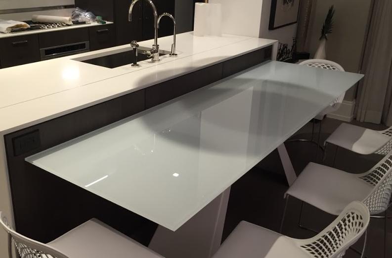 Custom made kitchen table top counter glass toughen glass ...
