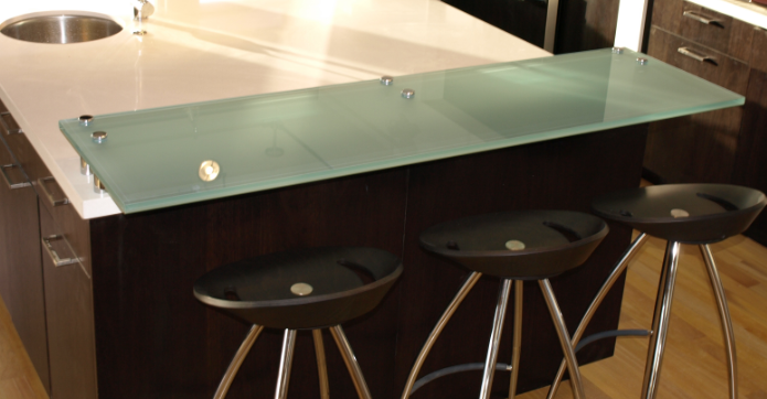 Kitchen Counter Top Glass Breakfast Bar In Contemporary Glass Quality Fixtures And Fittings In