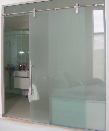 Bathroom Glass Doors : Simple slideing glass shower splash guard and door