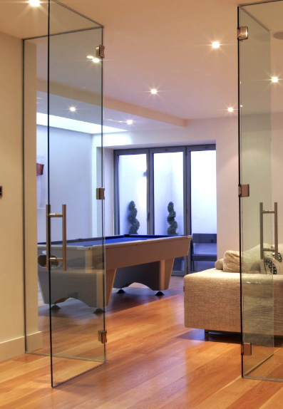 Full size glass internal office and conference room made for Frameless glass doors