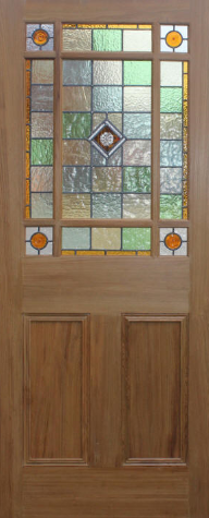 Traditional edwardian sandblasted and acid etching in for Domestic front doors