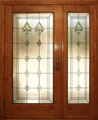 Wooden Doors Deourative Coloured Beveled Glass Leaded Light For