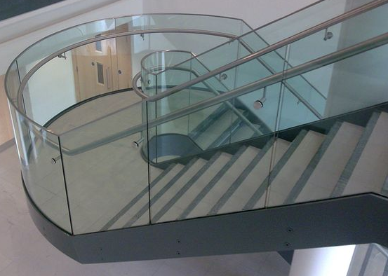 Architectural Interior Design Curved Glass Stairs Safety